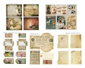 Digital Vintage Journal Ephemera Kit - Broken China - Perfect for journals, cards, mixed media, scrapbooking (5 digital images)