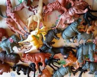plastic toy forest and jungle animals