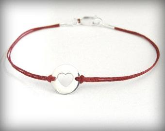 Heart bracelet, sterling silver heart on linen bracelet, love, anniversary, birthday, friendship bracelet, ready to ship, gift for her