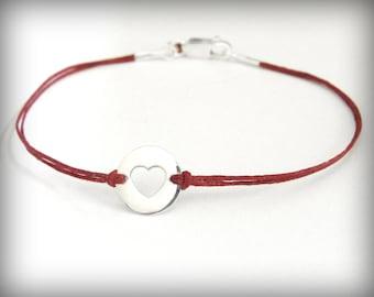 Heart bracelet sterling silver heart on linen bracelet love anniversary birthday friendship bracelet ready to ship graduation gift