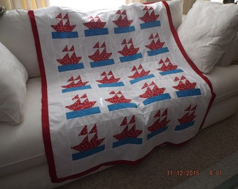 Baby Boy Sailor  Quilt Top / Wall