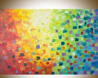 "Rainbow color art Abstract Acrylic Painting Original artwork large wall art wall decor Impasto Canvas art ""Rainbow"" by qiqigallery"