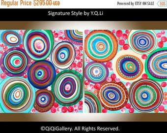 """Art painting acrylic Abstract Painting Original Large Art Multicolored Impasto canvas wall art """"Traveling through Colors"""" by QIQIGallery"""
