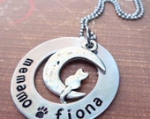 Cat Necklace Personalized Names Washer  - Personalized Kitty Cat Name - Love my Cat to the Moon & Back- P22