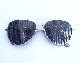 Cosmic space galaxy II graphic nebula party sunglasses aviator shades