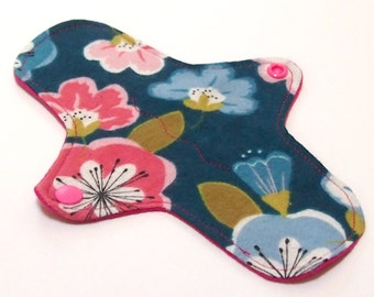 """Reusable Cloth winged ULTRATHIN Pantyliner - 8 Inch in """"1980s Party Dress"""" - Cotton Flannel top"""