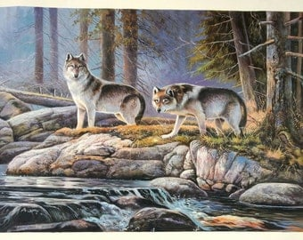 Wolves by the Forest Brook - high quality 100% hand-painted oil painting,Wild Animal by the Mountain Stream in the Morning Art (24 x 36 in.)