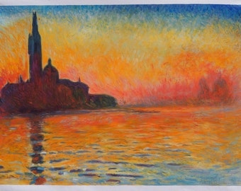 San Giorgio Maggiore by Twilight - Claude Monet hand-painted oil painting reproduction,beautiful sunset on island,Dusk in Venice landscape