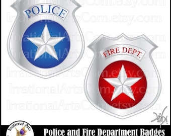 Police & Fire Department Badges - 2 digital graphics clip art  and Small Commercial License (Instant Download)
