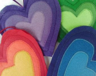 Rainbow Hearts Valentines Felt Hanging Decorations