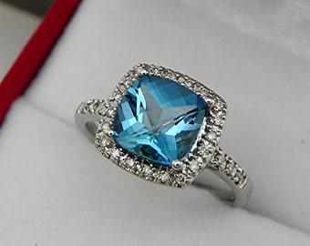 AAA London Blue Topaz 8x8mm Cushion cut 2.25 Carats 10KK White gold diamond (.20ct) Halo Ring 2011