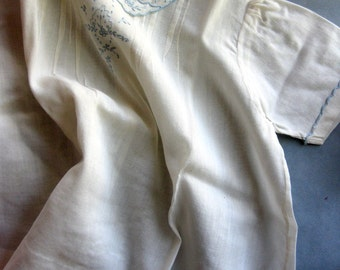 Vintage Cotton Newborn, Infant Dress, White with Gorgeous Blue Embroidery and Pin Tucks