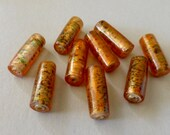 Handmade Vintage Glass Tube Beads - Amber with Silver Foil Core & Green Speckles  20x8mm (2)