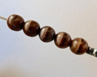 Vintage Czech Tortoise Shell Color Tiger Eye Smooth Round 7.6mm Glass Beads (10)
