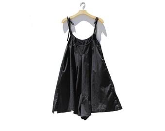 Black Cotton Culotte Onesie Romper / Cotton Jumpsuit