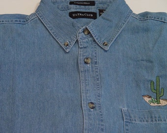 DESERT CACTUS Wildlife Embroidered Small to 4XL Long Sleeve Light Blue Denim Shirt - Price Embroidery Apparel