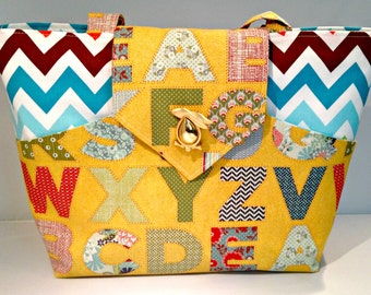 Alphabet and Colorful Chevron Bag or Purse with Pockets