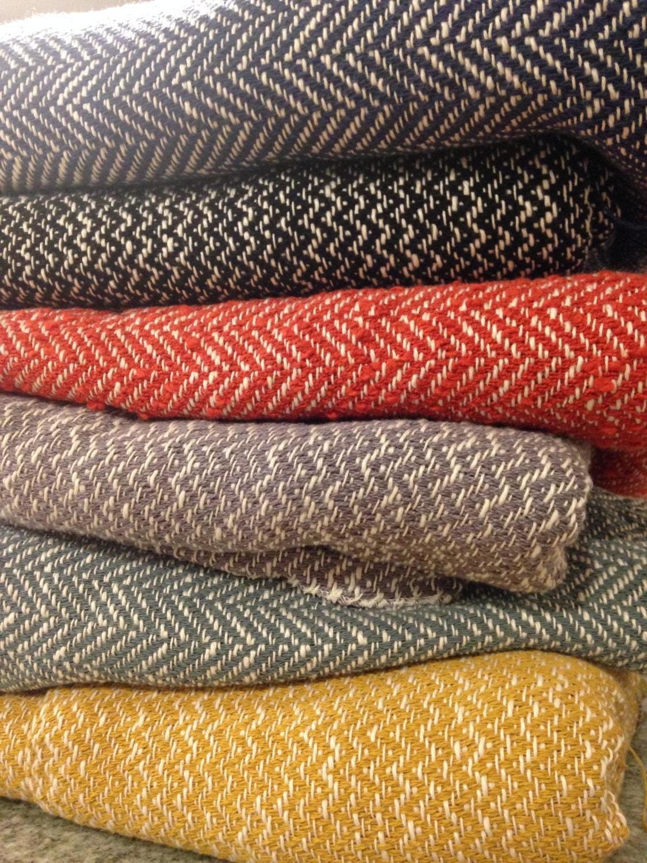 Herringbone Woven Blanket Orange And White