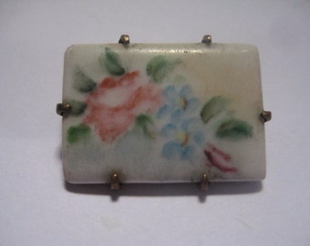 Antique Victorian  PIn with Porcelain Tile with Hand Painted Flowers