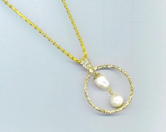 Gold Plated Circle Pendant with Pearls . Swarovski Rhinestone Pave Bail .Karma Style Round Pendant - Karma Necklace by enchantedbeas on Etsy