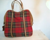 Vintage Tartan Plaid American Tourister Carry On Weekender Luggage Travel Bag- With Key