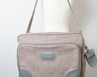 Vintage Pierre Cardin Pnk/Gry Tweed Overnight Travel Luggage Bag- With Lock and Keys