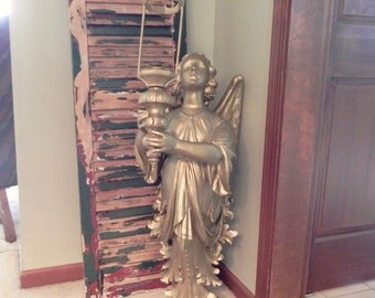 Monumental antique Daprato angel sculpture with torch dated copyright 1921 candleholder for set design restaurant loft decor marked 1921