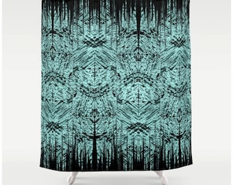 Fabric Shower Curtain Abstract Tiki Surfer Pattern Shower Curtain Teal and Black