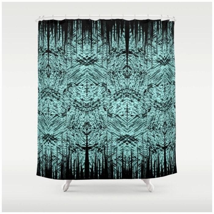 Tiki Pattern Shower Curtain Teal Green And Black Alternating