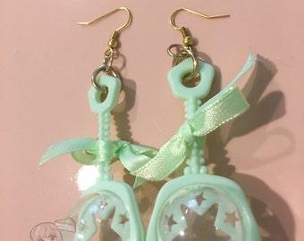 Pastel Green Baby Girl Rattle Star Bow Dangle Earrings
