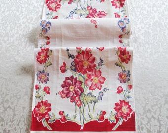 Vintage Red Tea Towel Kitchen Linens Floral Dish Cloth