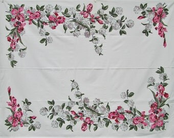 Vintage Tablecloth Pink Green Bearded Iris Vintage Linens