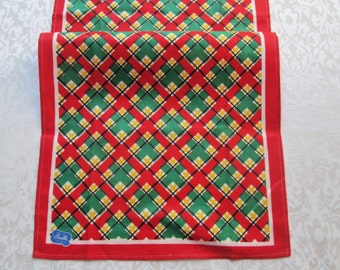 Vintage Tea Towel Kitchen Linens Retro Geometric Red Green Gold Christmas Table Runner Mid Century Dish Towel Bucilla Tag Vintage Linens