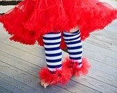 """Red White & Blue 4th July Girls ruffle lace and tutu leg warmers - Perfect for Birthdays, Photos - Fits girls size 6m to 6X approx 12"""" long"""