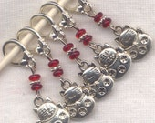 Fortune Cat Knitting Stitch Markers Chinese New Year Maneki Neko Set of 5 / SM151C