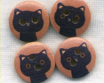 Black Cat Buttons Decorative Wooden Buttons 15mm (5/8 inch) Set of 8 /BT283A