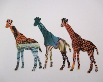 3 Large Giraffe Iron On Appliques 5 1/2""