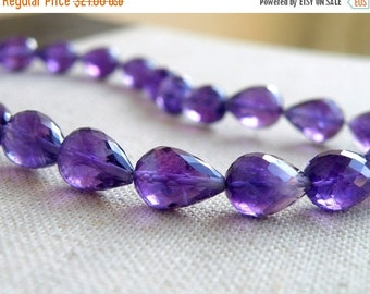 Mega SALE Amethyst Gemstone Faceted 3D Tear drop Briolette 10 to 10.5mm 8 beads