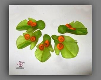 1 Leaf with berries, Bead, bead set, Lampworkbeads, SRA
