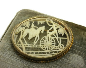 Vintage Celluloid Cameo Brooch - Cut Out Scene Brooch, French, Woman on Horse, Man on Penny Farthing Bike