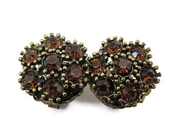 Vintage Cufflinks - Topaz Rhinestone Cuff Links, Brass