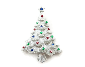 Christmas Brooch - Silver Tree with Rhinestone, Holiday Costume Jewelry
