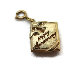 Gold Book Locket Charm - Gold Tone, Monet, Happy Anniversary, Costume Jewelry