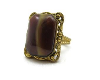 Vintage Art Glass Ring -  Adjustable Statement Ring