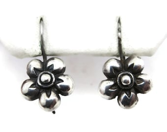 Sterling Silver Flower Earrings - Hooks, Pierced