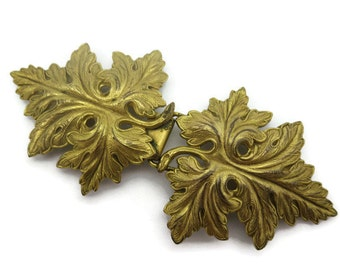 Dress Buckle - Edwardian Brass Leaves, Sash Buckle
