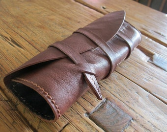 Hand Stitched Simple Leather X Kimono Lining Pen Case - Chocolate Brown -