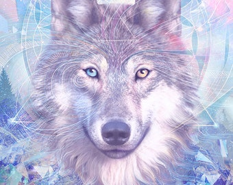 Wolf Spirit | 11X14 Wolf moon print, crystal dreamscape artwork, fantasy wolf poster, modern psychedelic art | by Meluseena