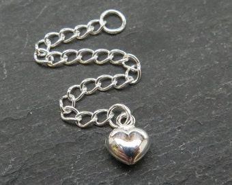 """Sterling Silver Extension Chain with Heart ~ 2.5"""" (CG7331)"""
