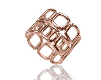 14K Rose Gold Triangles Ring , 3D Ring , Two Rows 3D ring , Geometric Ring , Modern Triangles Women Rose Gold Ring , Wide Rose Gold Ring